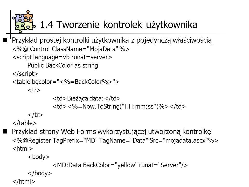 Przykład prostej kontrolki użytkownika z pojedynczą właściwością Public BackColor as string > Bieżąca data: Przykład strony Web Forms wykorzystującej utworzoną kontrolkę 1.4 Tworzenie kontrolek użytkownika