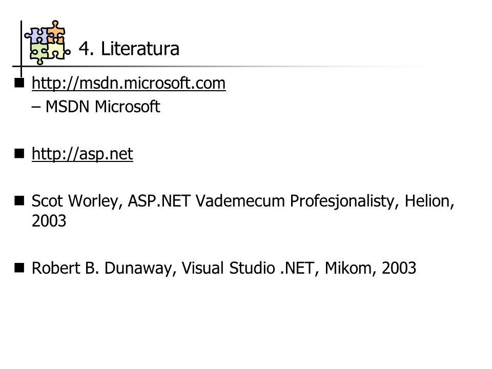 4. Literatura http://msdn.microsoft.com – MSDN Microsoft http://asp.net Scot Worley, ASP.NET Vademecum Profesjonalisty, Helion, 2003 Robert B. Dunaway