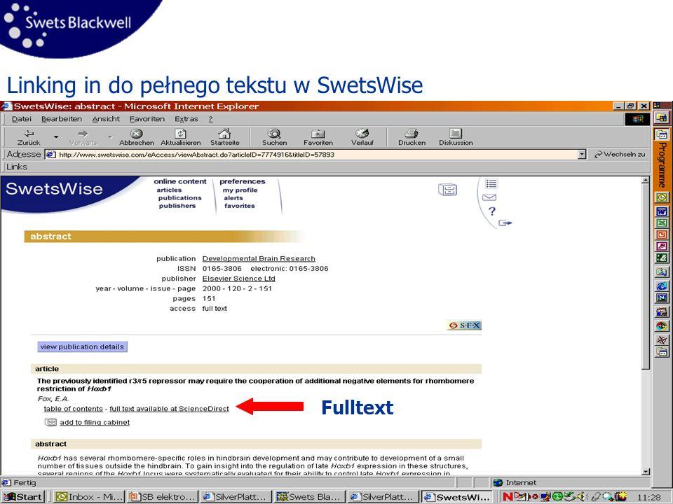 11 Linking in do pełnego tekstu w SwetsWise Fulltext