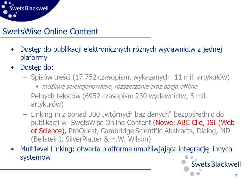 4 Koncepcja linking in i linking out: Web-OPAC Digital library Reference- databases SilverPlatter Dialog CSA WILSON Neu: ProQuest ISI IOP DOI DOI Local Holdings Document Delivery Dynamic Holdings: Własne linki z URL Springer Kluwer Wiley SwetsWise Online content TOC Abstract Fulltext LINKING INLINKING OUT stała i statyczna- struktura linków Elsevier