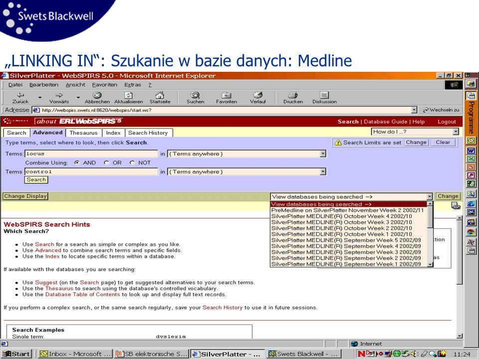 8 LINKING IN: Szukanie w bazie danych: Medline