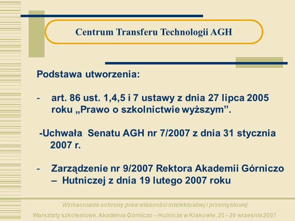 Wzmacnianie ochrony praw własności intelektualnej i przemysłowej Warsztaty szkoleniowe, Akademia Górniczo – Hutnicza w Krakowie, 25 - 26 września 2007 Centrum Transferu Technologii AGH Podstawa utworzenia: -art.