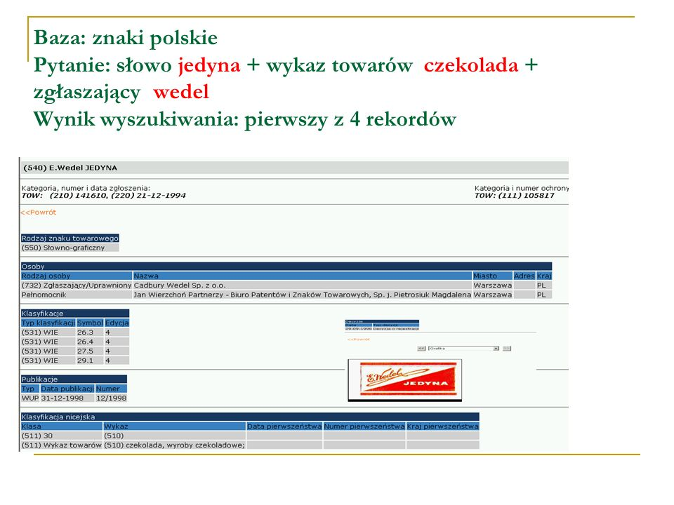 KLASYFIKACJA NICEJSKA INTERNATIONAL CLASSIFICATION OF GOODS AND SERVICES