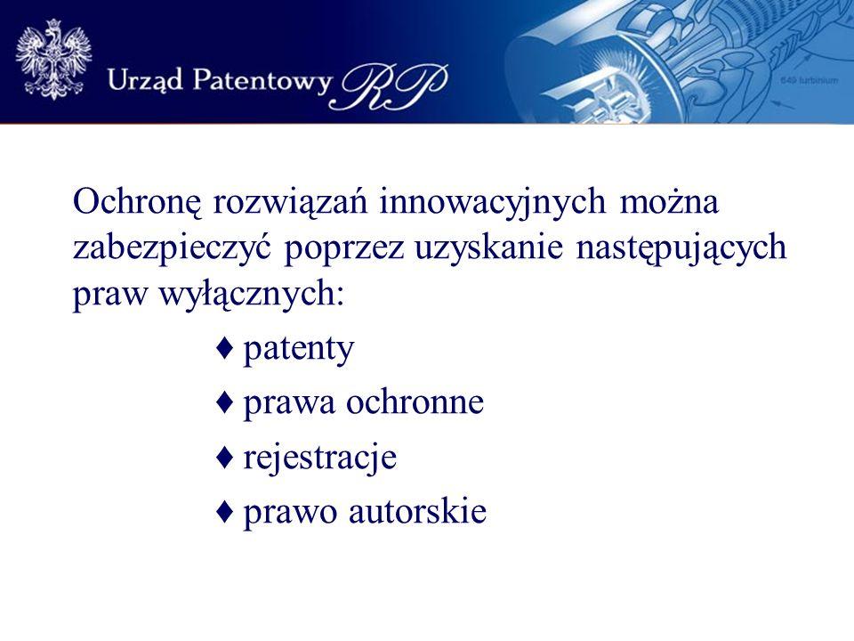 Ochronę rozwiązań innowacyjnych można zabezpieczyć poprzez uzyskanie następujących praw wyłącznych: patenty prawa ochronne rejestracje prawo autorskie