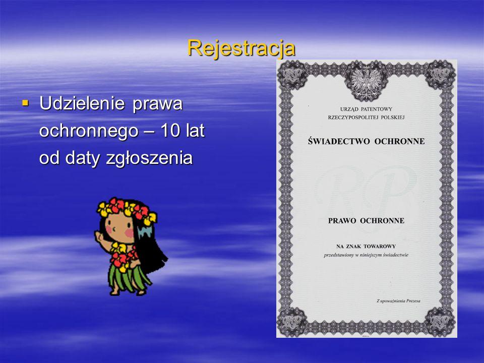 Rejestracja Udzielenie prawa Udzielenie prawa ochronnego – 10 lat od daty zgłoszenia