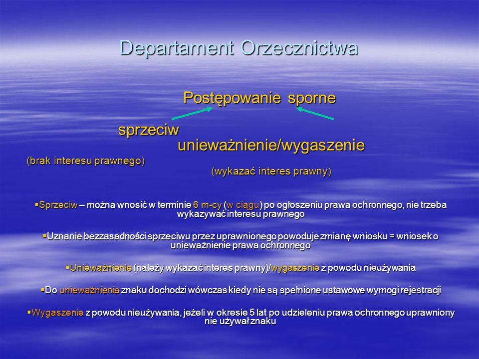 Departament Orzecznictwa Postępowanie sporne sprzeciw unieważnienie/wygaszenie (brak interesu prawnego) (wykazać interes prawny) Sprzeciw – można wnos