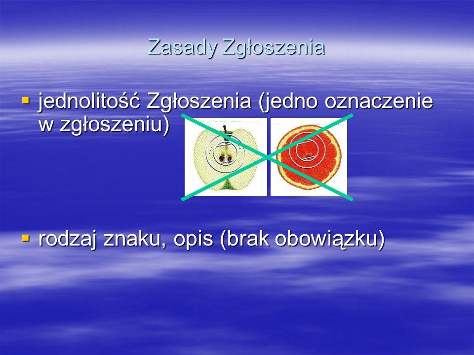 Zasady Zgłoszenia jednolitość Zgłoszenia (jedno oznaczenie w zgłoszeniu) jednolitość Zgłoszenia (jedno oznaczenie w zgłoszeniu) rodzaj znaku, opis (br