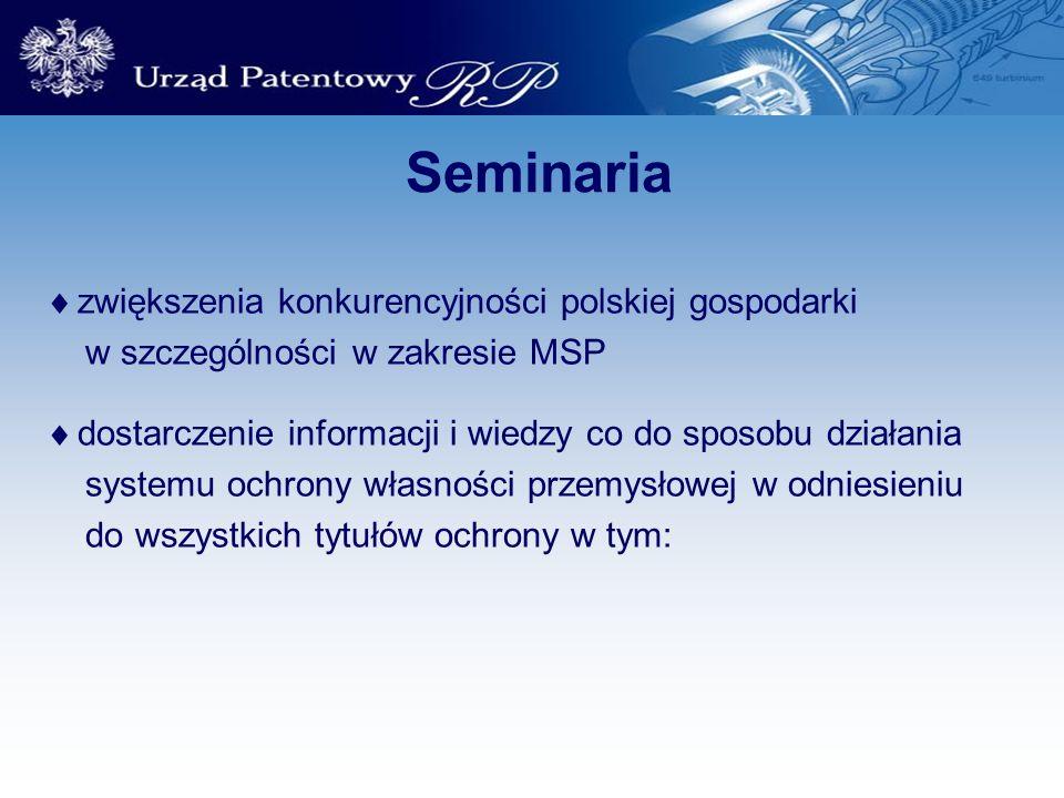 Seminaria zwiększenia konkurencyjności polskiej gospodarki w szczególności w zakresie MSP dostarczenie informacji i wiedzy co do sposobu działania sys