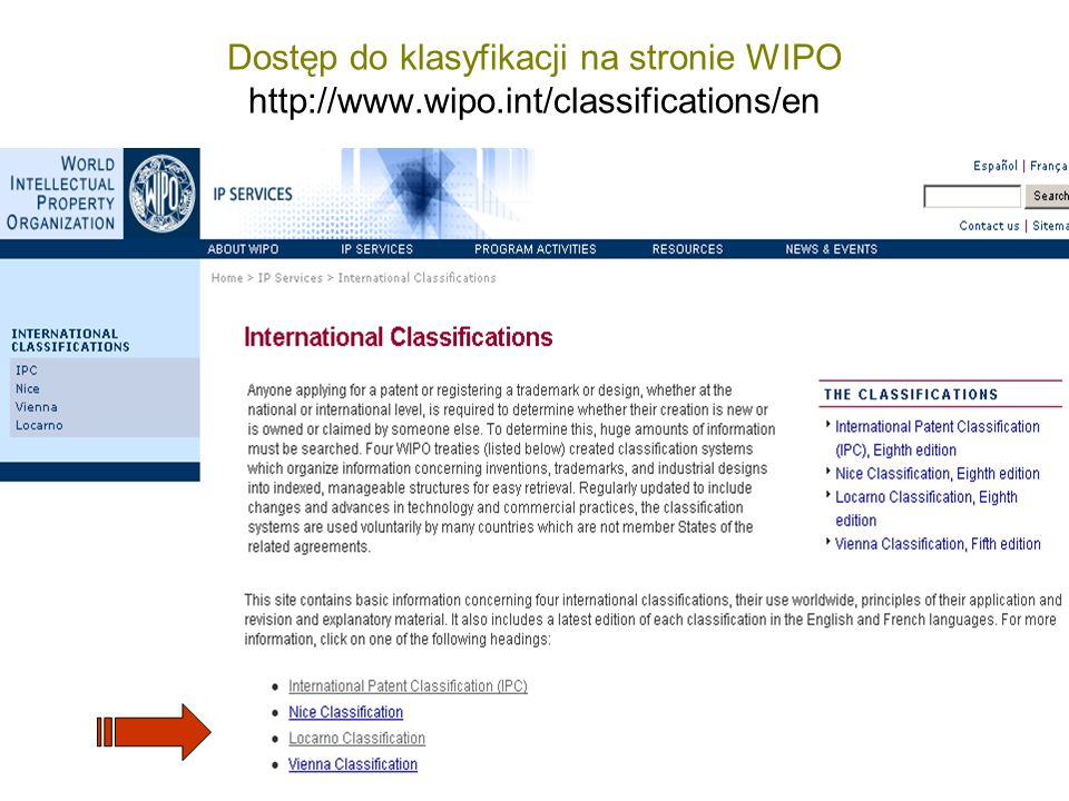 Dostęp do klasyfikacji na stronie WIPO http://www.wipo.int/classifications/en