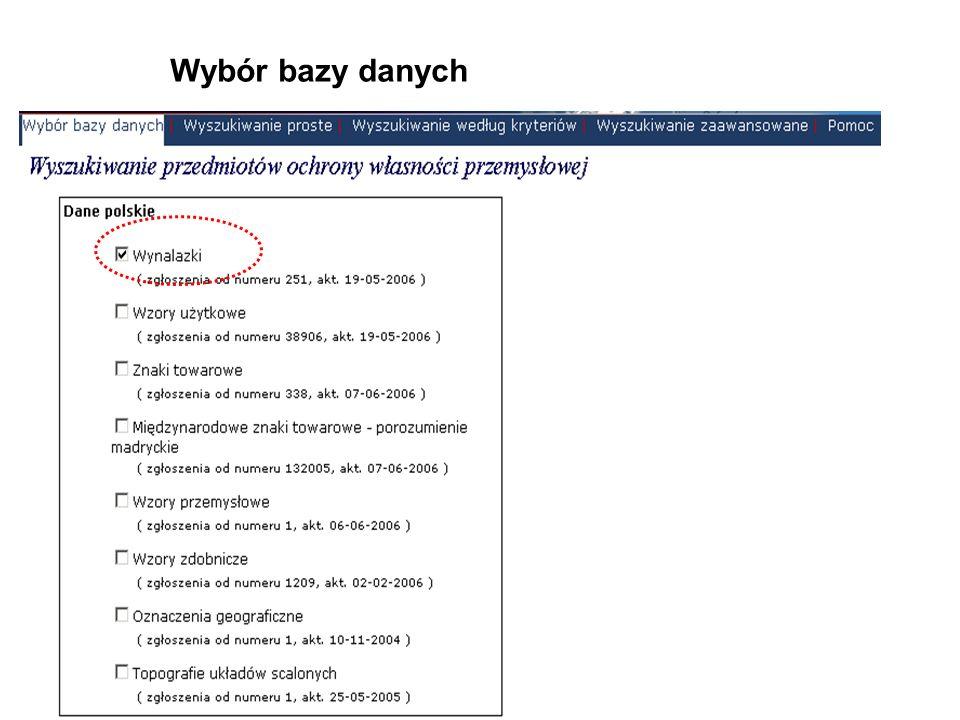 Wybór rodzaju wyszukiwania Baza: wynalazki polskie Pytanie: zgłaszający ursus