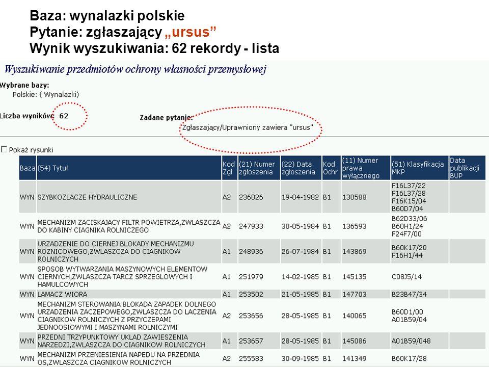 Baza: wynalazki polskie Pytanie: zgłaszający ursus Wynik wyszukiwania: 62 rekordy - lista