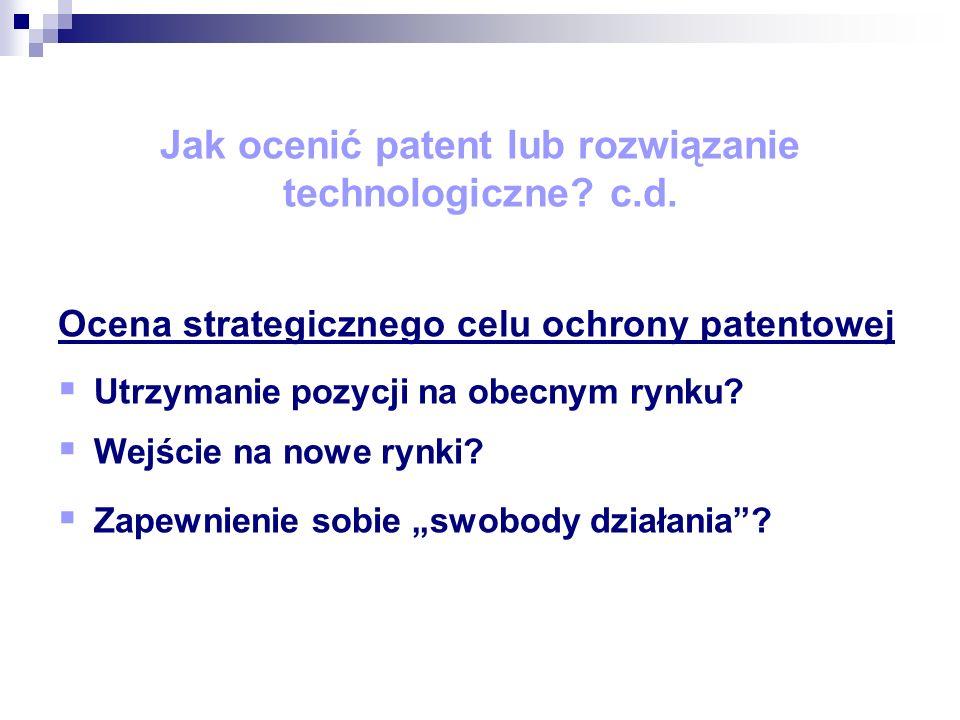 Praktyczne aspekty IPscore 40 wskaźników oceny Zdefiniowana skala oceny dla każdego wskaźnika Możliwość szacunkowej analizy finansowej oraz obliczenia wartości bieżącej netto (net present value) patentu Możliwość wyceny pojedynczego patentu lub portfolia patentowego Możliwość przechowywania i aktualizacji zapisów wykonanych ocen (baza danych)