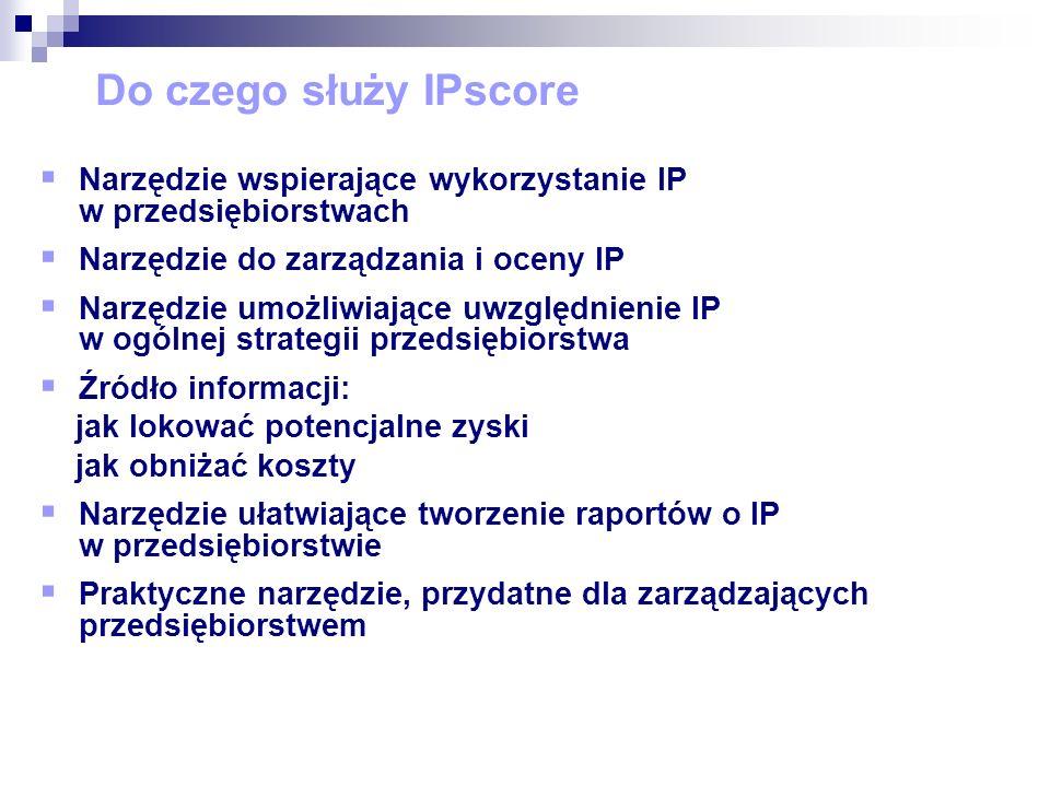 Za pomocą IPscore można oceniać: Pojedyncze patenty Portfolia patentowe Opatentowane technologie Projekty badawczo-rozwojowe Pomysły