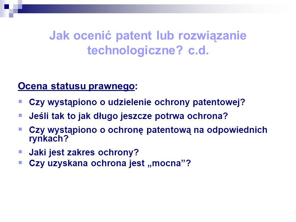 Jak ocenić patent lub rozwiązanie technologiczne.c.d.