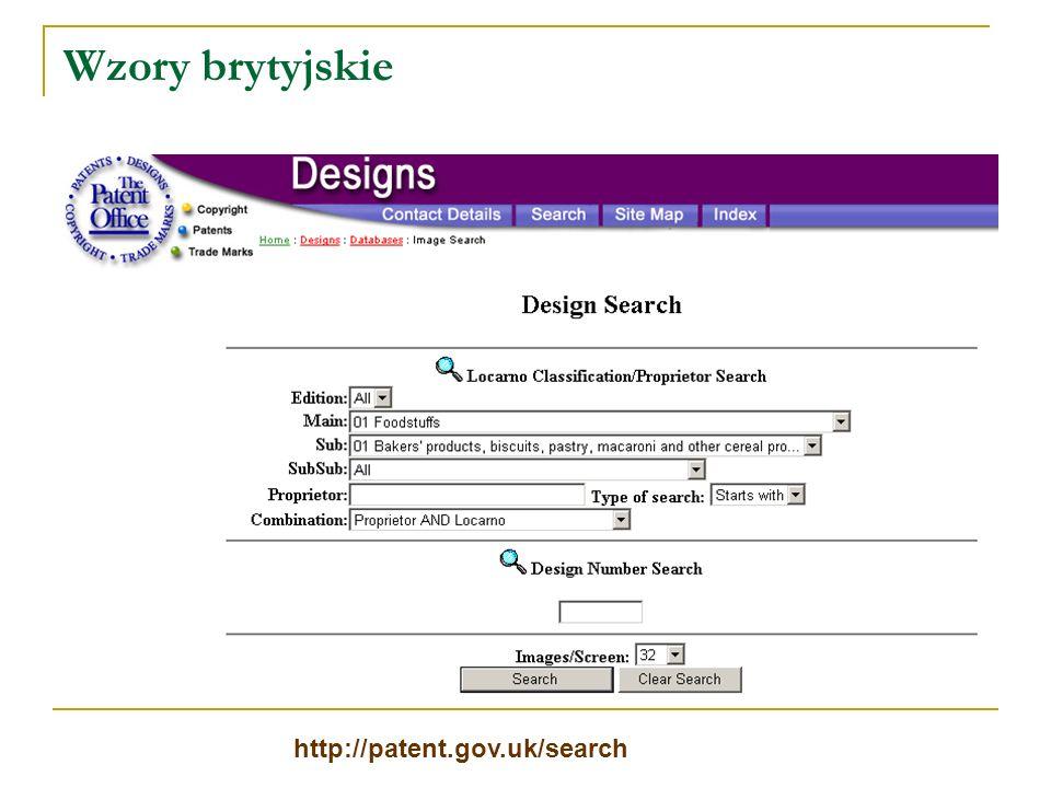Wzory brytyjskie http://patent.gov.uk/search