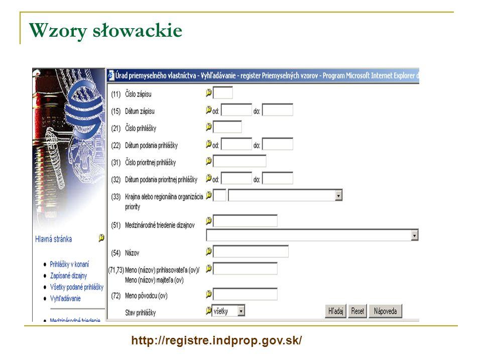 Wzory słowackie http://registre.indprop.gov.sk/