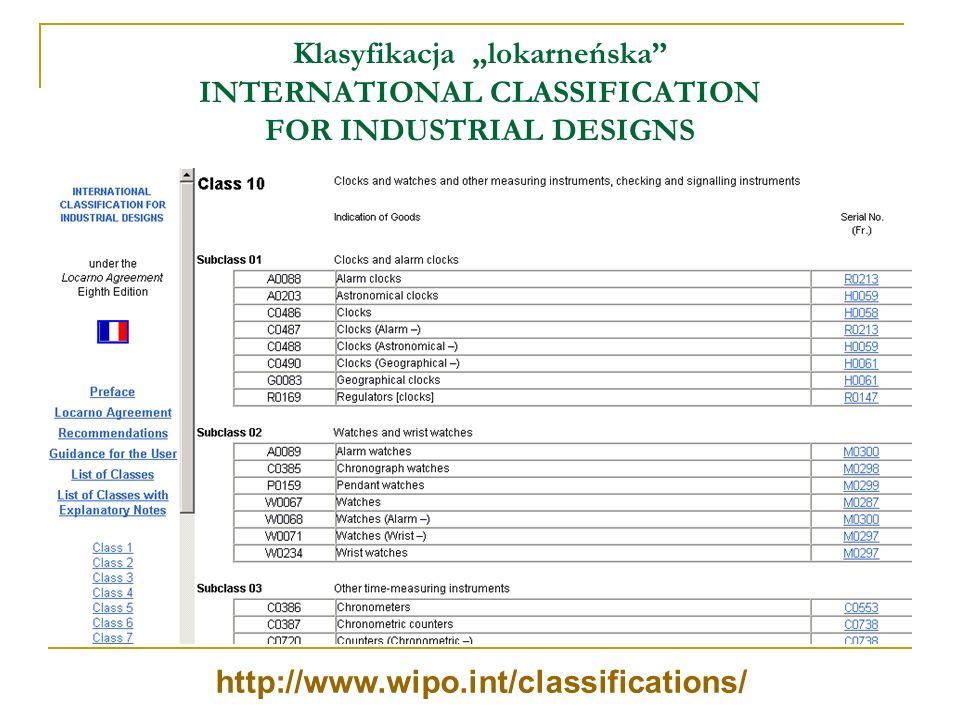 Klasyfikacja lokarneńska INTERNATIONAL CLASSIFICATION FOR INDUSTRIAL DESIGNS http://www.wipo.int/classifications/