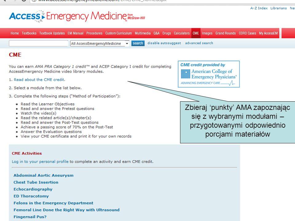 Zbieraj punkty AMA zapoznając się z wybranymi modułami – przygotowanymi odpowiednio porcjami materiałów