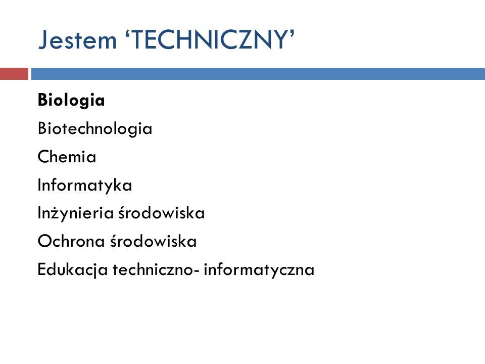 Jestem TECHNICZNY Biologia Biotechnologia Chemia Informatyka Inżynieria środowiska Ochrona środowiska Edukacja techniczno- informatyczna
