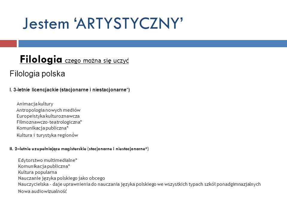 Jestem ARTYSTYCZNY Filologia czego można się uczyć Filologia polska I. 3-letnie licencjackie (stacjonarne i niestacjonarne*) Animacja kultury Antropol