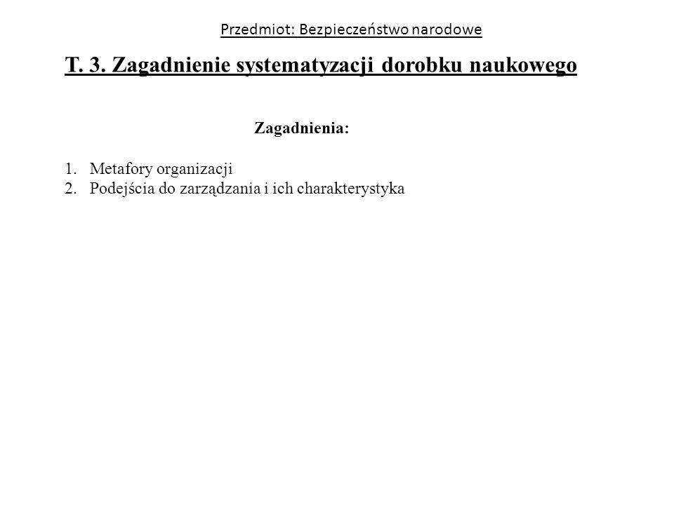 Przedmiot: Bezpieczeństwo narodowe T. 3. Zagadnienie systematyzacji dorobku naukowego Zagadnienia: 1.Metafory organizacji 2.Podejścia do zarządzania i