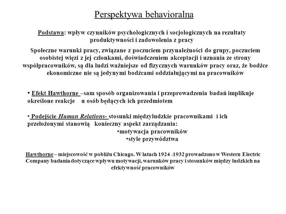 Perspektywa behavioralna Podstawa: wpływ czynników psychologicznych i socjologicznych na rezultaty produktywności i zadowolenia z pracy Efekt Hawthorn