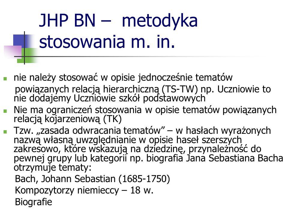 JHP BN – metodyka stosowania m. in. nie należy stosować w opisie jednocześnie tematów powiązanych relacją hierarchiczną (TS-TW) np. Uczniowie to nie d
