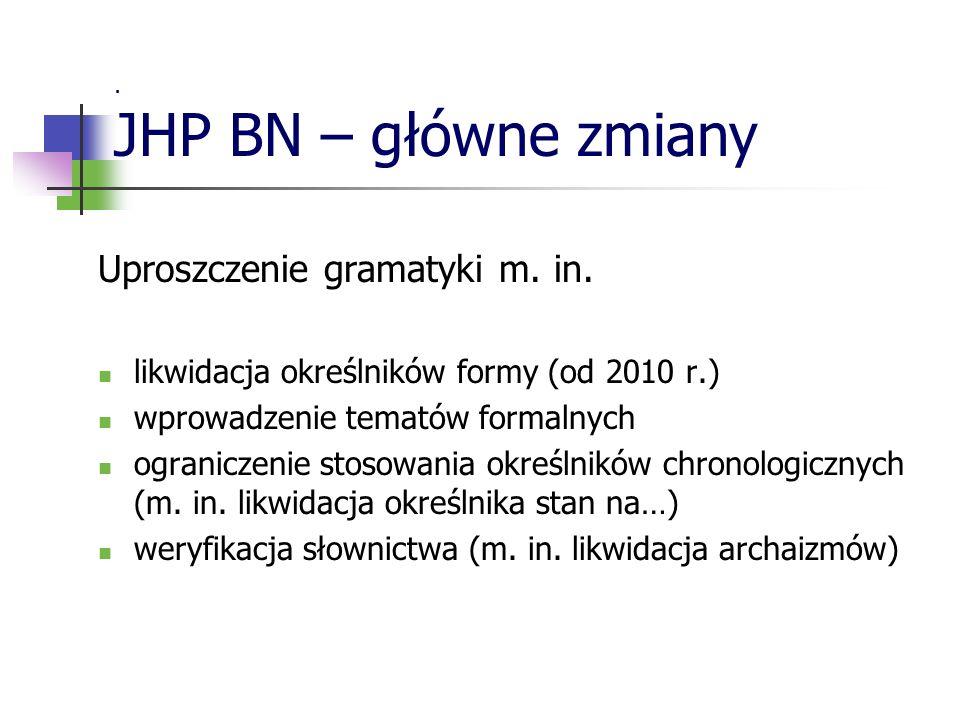 Uproszczenie gramatyki m. in. likwidacja określników formy (od 2010 r.) wprowadzenie tematów formalnych ograniczenie stosowania określników chronologi