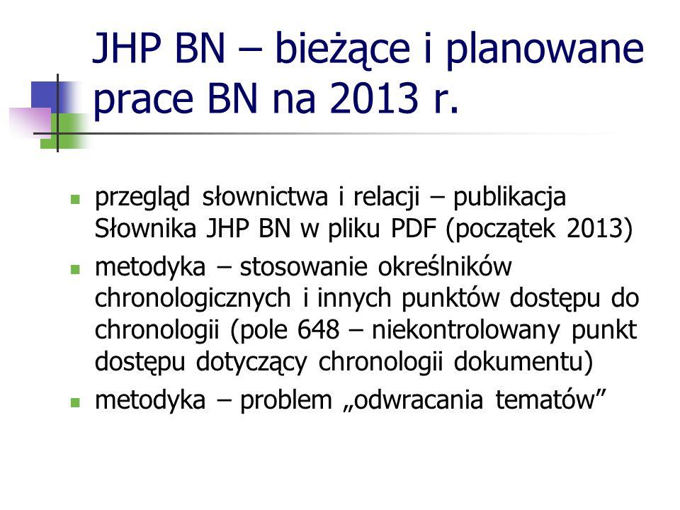 JHP BN – bieżące i planowane prace BN na 2013 r. przegląd słownictwa i relacji – publikacja Słownika JHP BN w pliku PDF (początek 2013) metodyka – sto