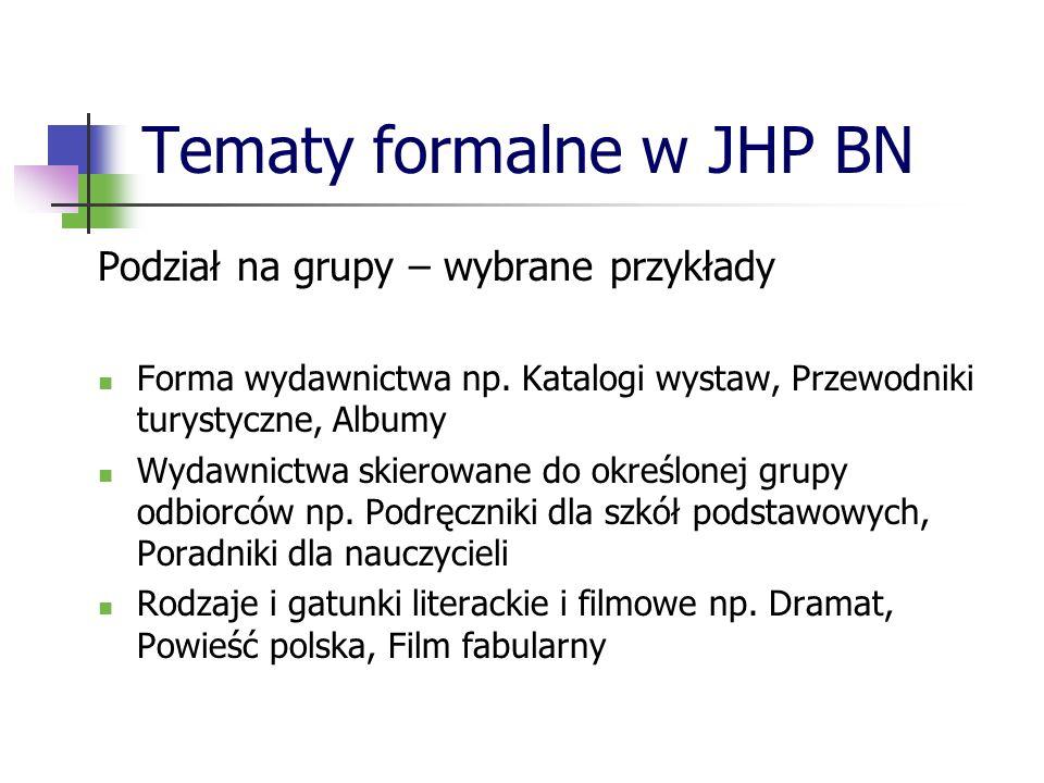 Tematy formalne w JHP BN Podział na grupy – wybrane przykłady Forma wydawnictwa np. Katalogi wystaw, Przewodniki turystyczne, Albumy Wydawnictwa skier