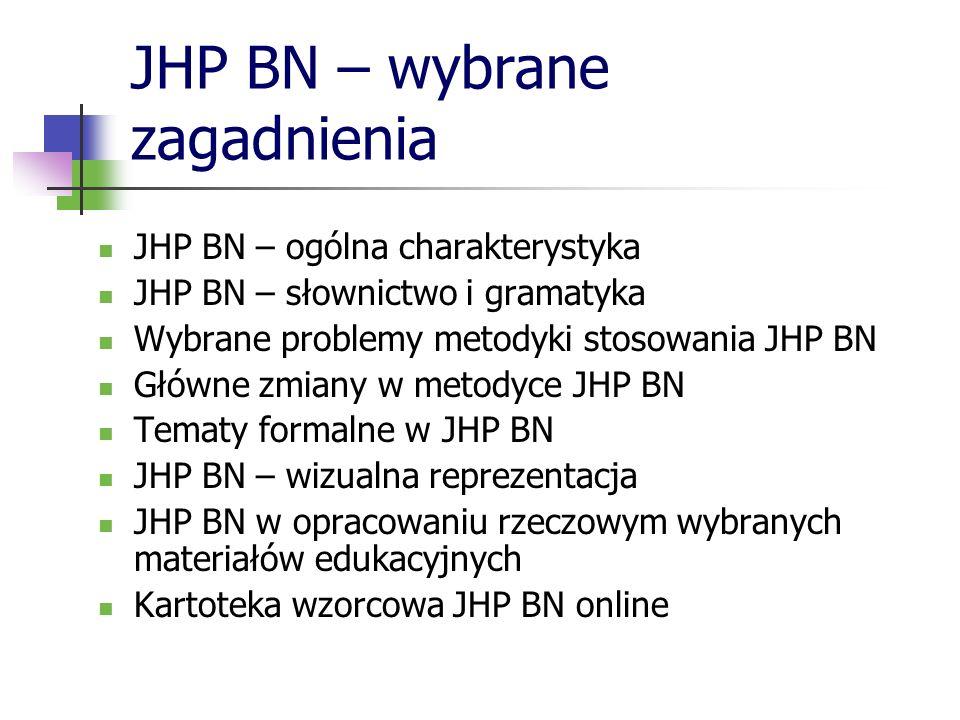 JHP BN – wybrane zagadnienia JHP BN – ogólna charakterystyka JHP BN – słownictwo i gramatyka Wybrane problemy metodyki stosowania JHP BN Główne zmiany