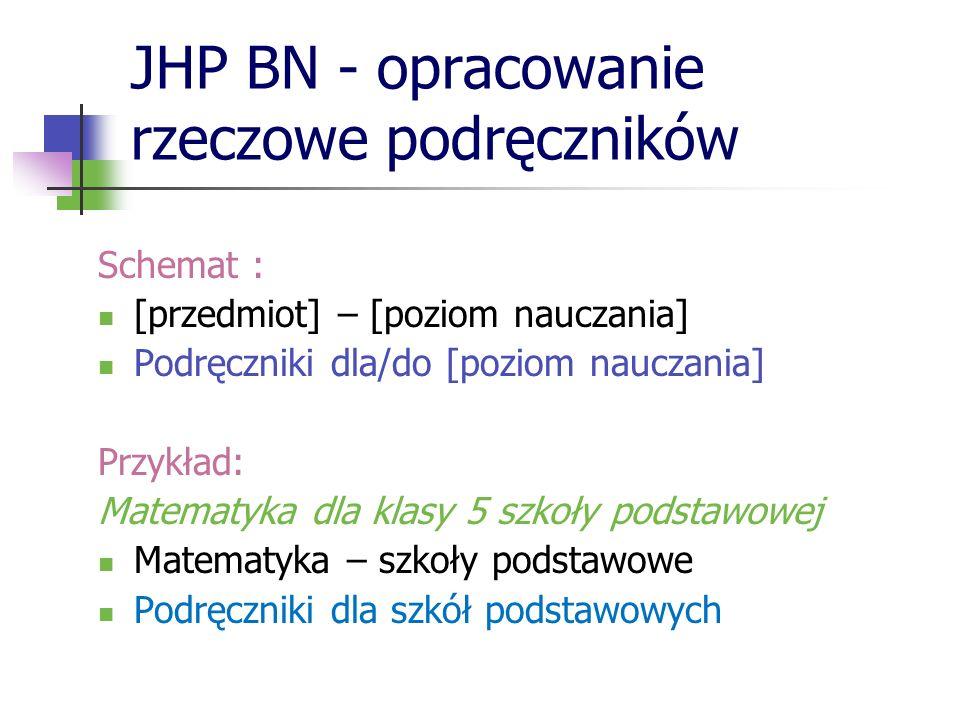 JHP BN - opracowanie rzeczowe podręczników Schemat : [przedmiot] – [poziom nauczania] Podręczniki dla/do [poziom nauczania] Przykład: Matematyka dla k