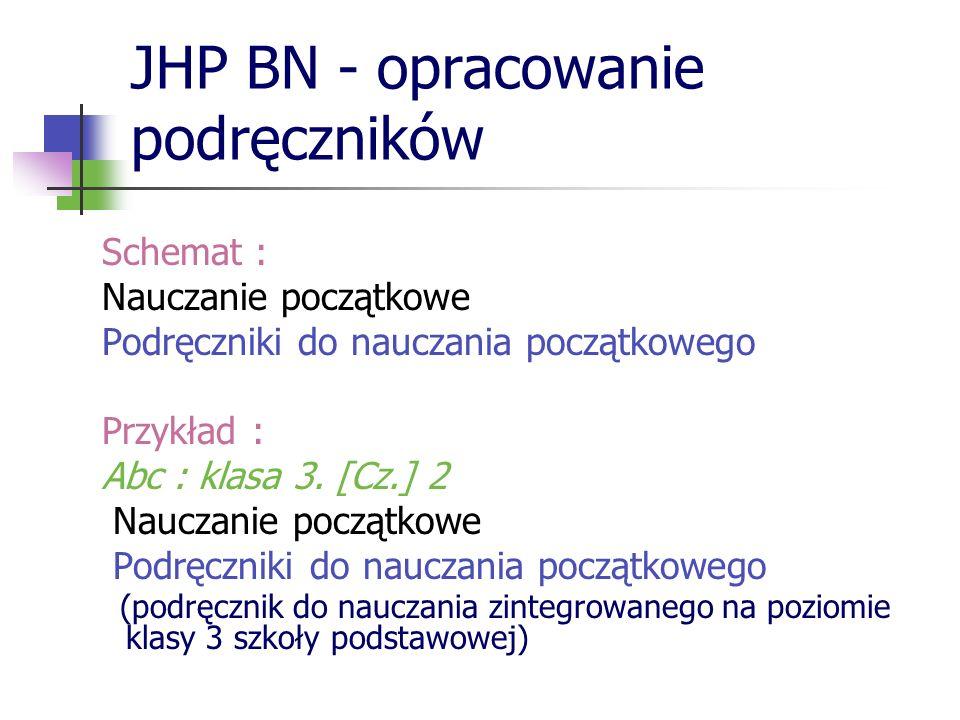 JHP BN - opracowanie podręczników Schemat : Nauczanie początkowe Podręczniki do nauczania początkowego Przykład : Abc : klasa 3. [Cz.] 2 Nauczanie poc