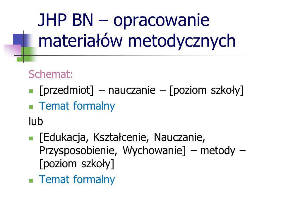 JHP BN – opracowanie materiałów metodycznych Schemat: [przedmiot] – nauczanie – [poziom szkoły] Temat formalny lub [Edukacja, Kształcenie, Nauczanie,