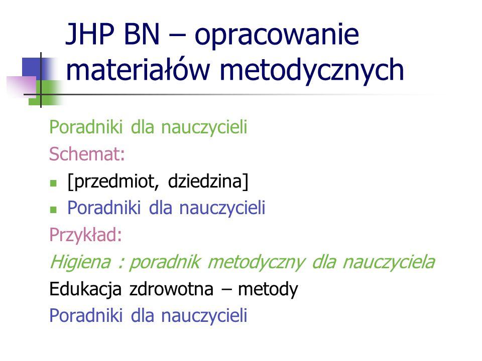 JHP BN – opracowanie materiałów metodycznych Poradniki dla nauczycieli Schemat: [przedmiot, dziedzina] Poradniki dla nauczycieli Przykład: Higiena : p