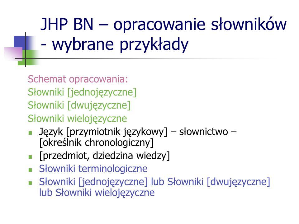 JHP BN – opracowanie słowników - wybrane przykłady Schemat opracowania: Słowniki [jednojęzyczne] Słowniki [dwujęzyczne] Słowniki wielojęzyczne Język [