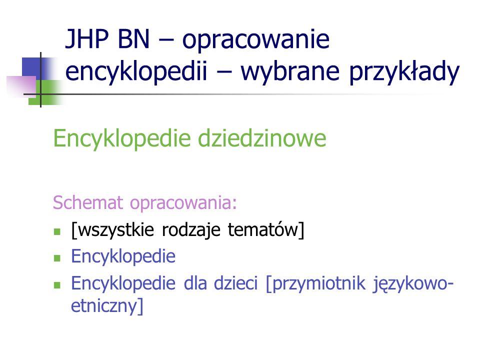 JHP BN – opracowanie encyklopedii – wybrane przykłady Encyklopedie dziedzinowe Schemat opracowania: [wszystkie rodzaje tematów] Encyklopedie Encyklope