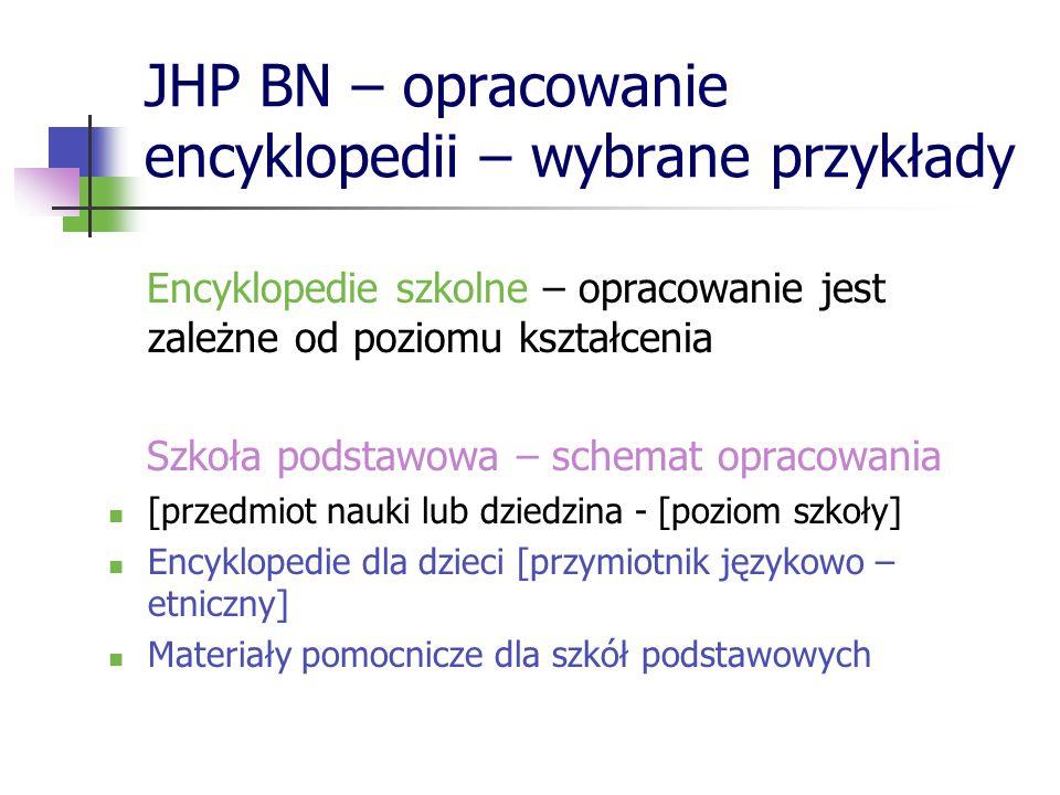 JHP BN – opracowanie encyklopedii – wybrane przykłady Encyklopedie szkolne – opracowanie jest zależne od poziomu kształcenia Szkoła podstawowa – schem