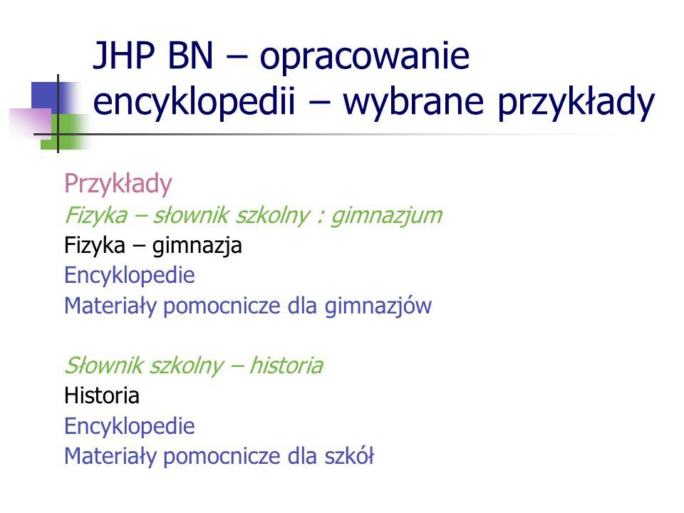 JHP BN – opracowanie encyklopedii – wybrane przykłady Przykłady Fizyka – słownik szkolny : gimnazjum Fizyka – gimnazja Encyklopedie Materiały pomocnic