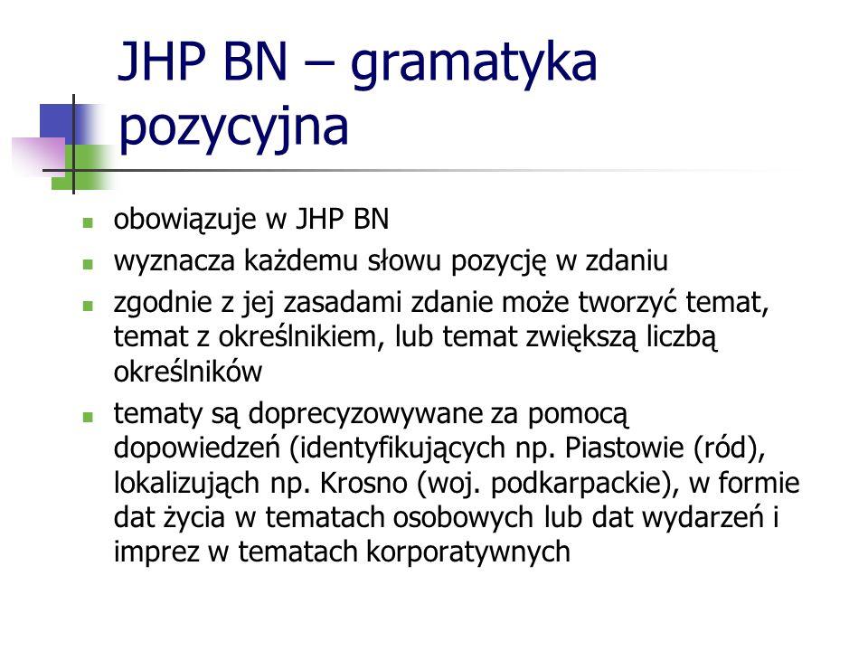 JHP BN – gramatyka pozycyjna obowiązuje w JHP BN wyznacza każdemu słowu pozycję w zdaniu zgodnie z jej zasadami zdanie może tworzyć temat, temat z okr