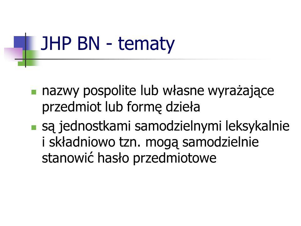 JHP BN - tematy Tematy dzielimy na : rzeczowe (zwane też treściowymi lub ogólnymi) osobowe korporatywne tytułowe geograficzne formalne Każdej grupie tematów odpowiada odrębne pole w formacie MARC 21