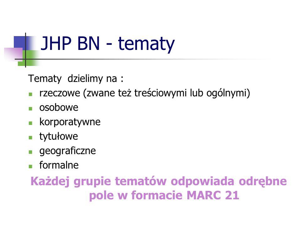 JHP BN - tematy Tematy dzielimy na : rzeczowe (zwane też treściowymi lub ogólnymi) osobowe korporatywne tytułowe geograficzne formalne Każdej grupie t