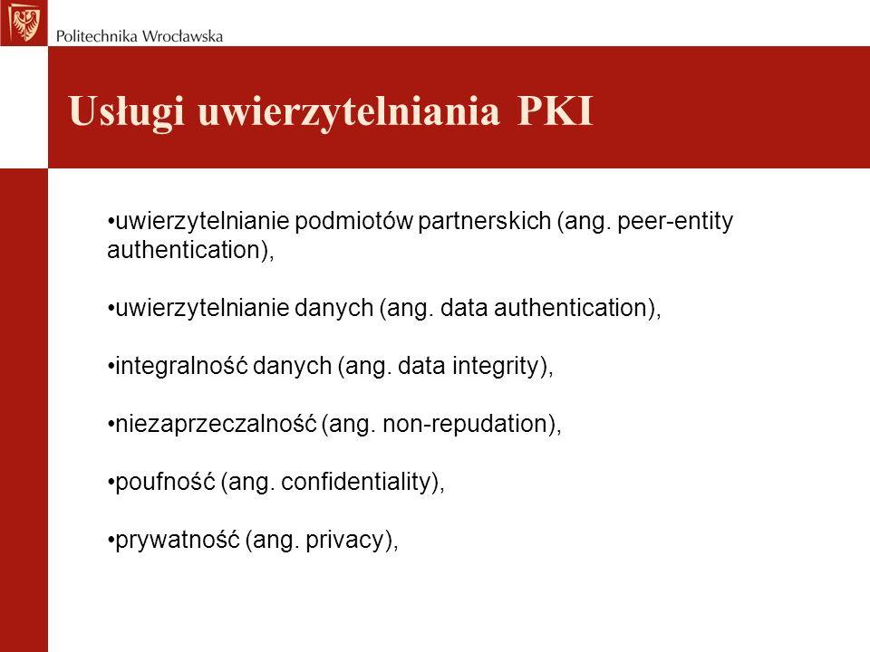 Zastosowanie infrastruktury PKI bezpieczna poczta, transakcje typu e-commerce (handel elektroniczny), wirtualne sieci prywatne (Virtual Private Network - VPN), zabezpieczenia stacji roboczej użytkownika (jego danych), zapewnienie bezpieczeństwa na witrynach internetowych, urządzeniach i aplikacjach klienta.