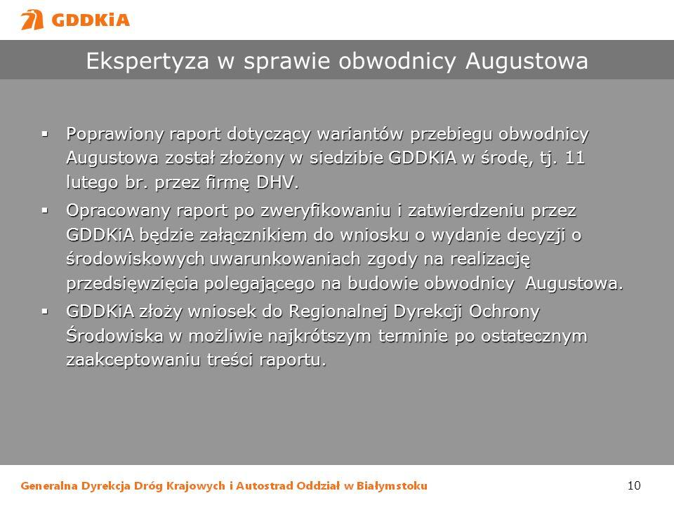 10 Ekspertyza w sprawie obwodnicy Augustowa Poprawiony raport dotyczący wariantów przebiegu obwodnicy Augustowa został złożony w siedzibie GDDKiA w śr