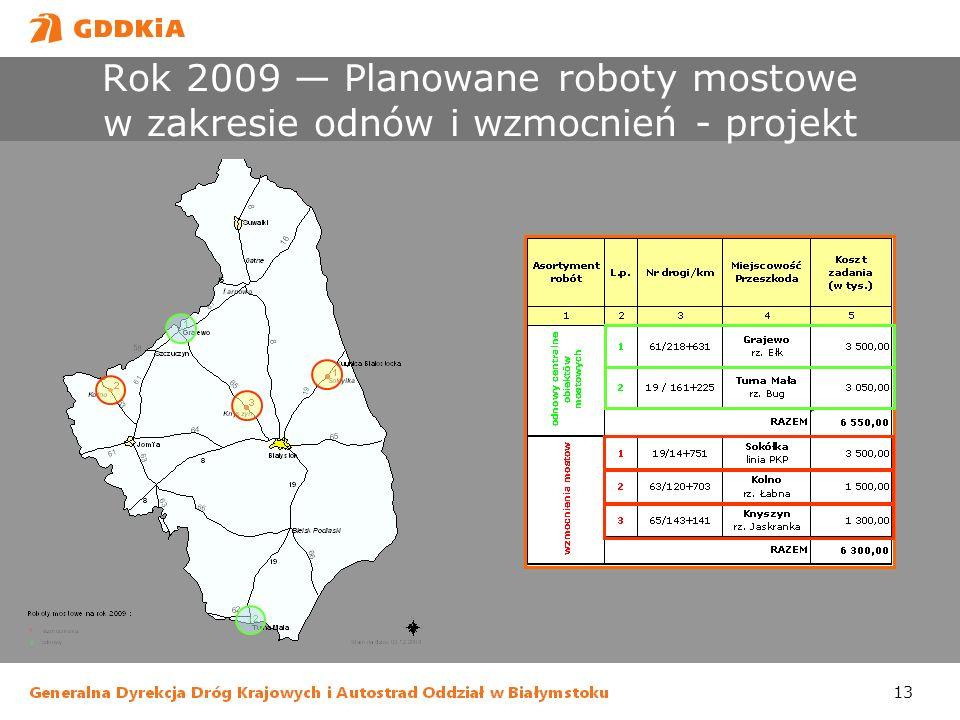13 Rok 2009 Planowane roboty mostowe w zakresie odnów i wzmocnień - projekt