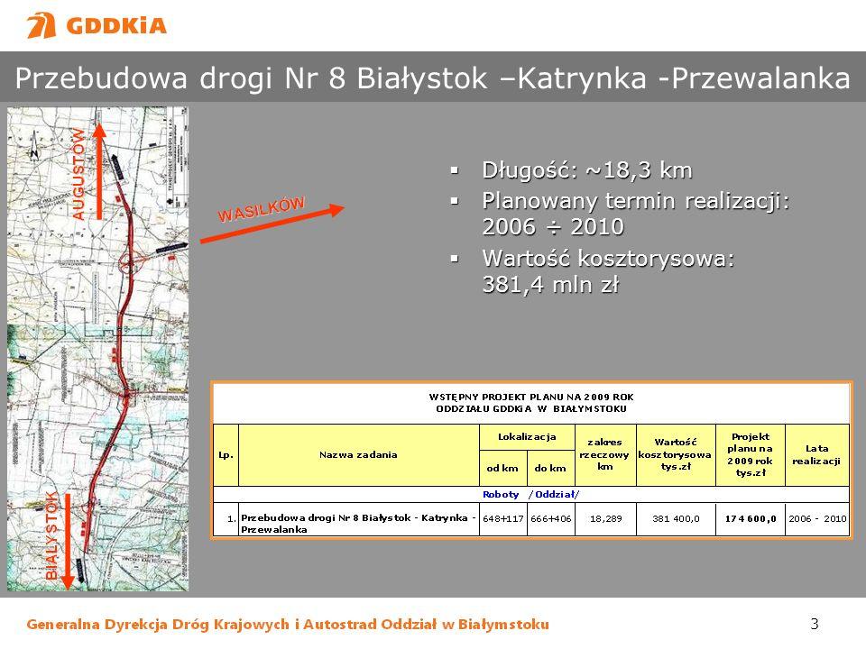 3 Przebudowa drogi Nr 8 Białystok –Katrynka -Przewalanka Długość: ~18,3 km Długość: ~18,3 km Planowany termin realizacji: 2006 ÷ 2010 Planowany termin