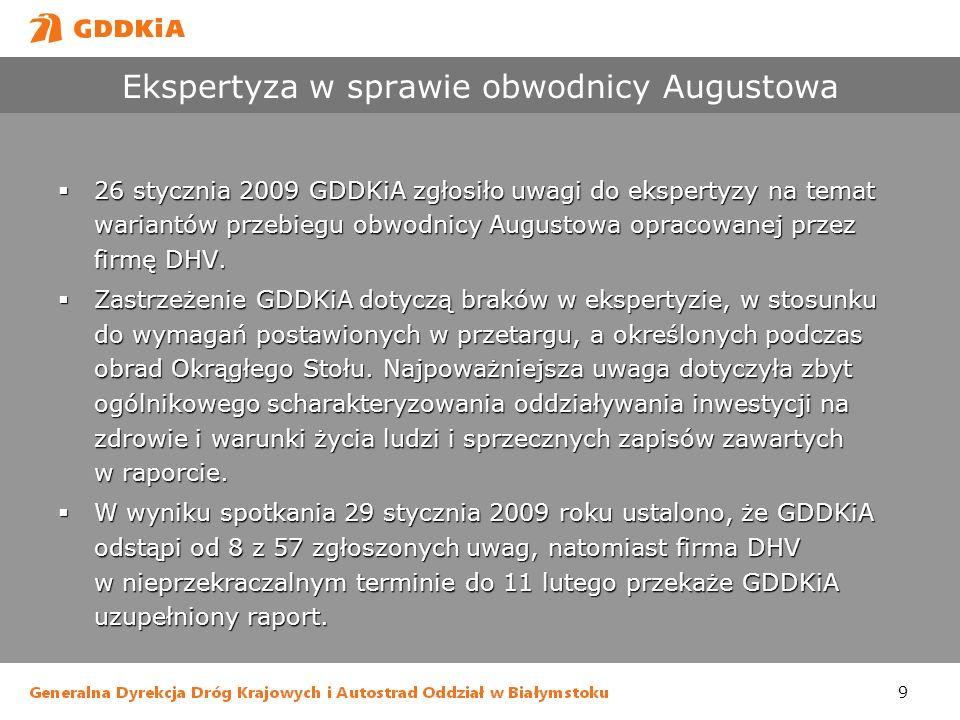 9 Ekspertyza w sprawie obwodnicy Augustowa 26 stycznia 2009 GDDKiA zgłosiło uwagi do ekspertyzy na temat wariantów przebiegu obwodnicy Augustowa oprac