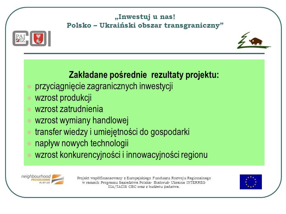 Inwestuj u nas! Polsko – Ukraiński obszar transgraniczny Zakładane pośrednie rezultaty projektu: przyciągnięcie zagranicznych inwestycji wzrost produk
