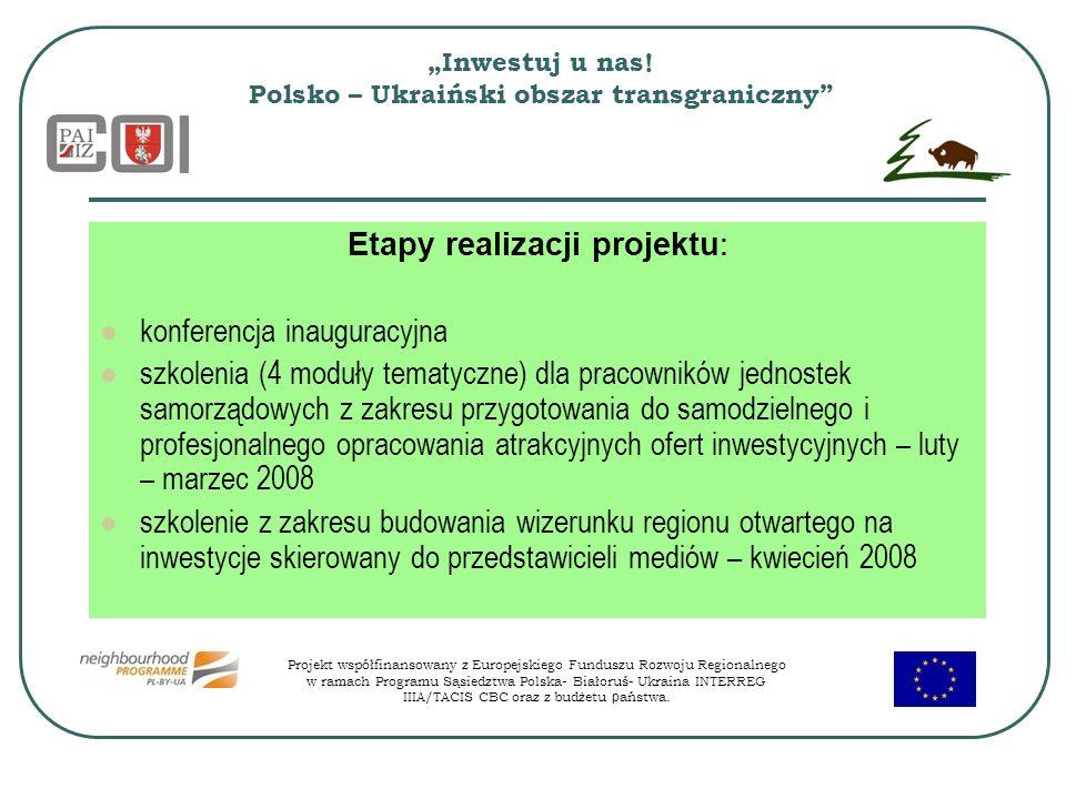 Inwestuj u nas! Polsko – Ukraiński obszar transgraniczny Etapy realizacji projektu : konferencja inauguracyjna szkolenia (4 moduły tematyczne) dla pra