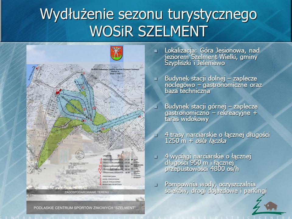 Wydłużenie sezonu turystycznego WOSiR SZELMENT Lokalizacja: Góra Jesionowa, nad jeziorem Szelment Wielki, gminy Szypliszki i Jeleniewo Lokalizacja: Gó